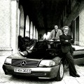 Luciano Benetton and his son Mauro with the 500SL. Only the image is conservative.