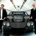 Standing next to a new GT at Crewe are two of the car's creators: Raul Pires, left, the GT's exterior design manager, and Dirk van Braeckel, Bentley's director of design.